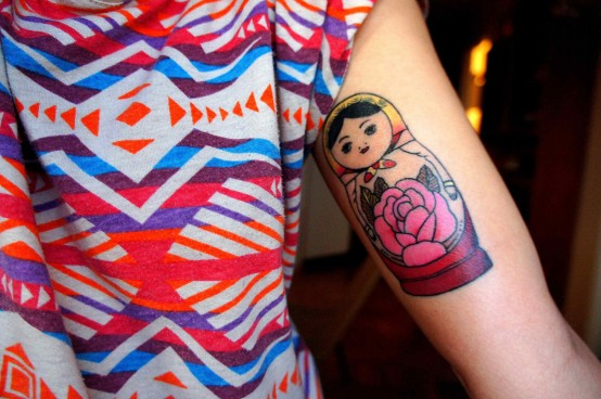 Pink Rose And Matryoshka Tattoo On Muscles