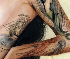 Pirate Ship Mermaid Tattoos