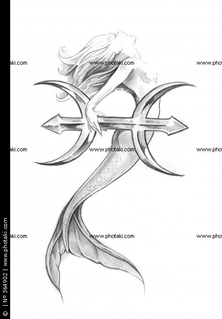 Pisces Mermaid Tattoo Design
