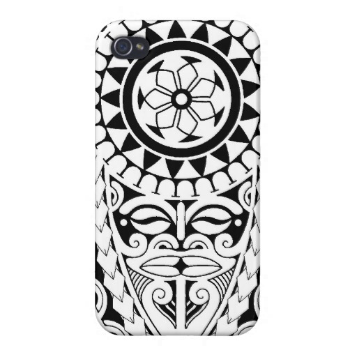 Polynesian Sun Mask Tattoo Design Iphone Case