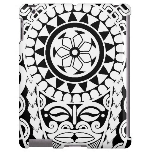 Polynesian Sun Mask Tattoo Design