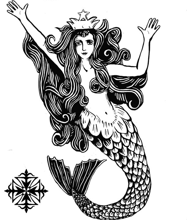 Queen Mermaid Tattoo Design