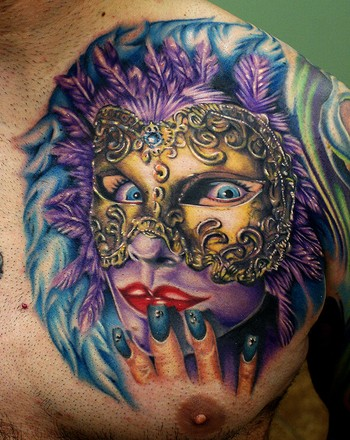 Realism Mask Tattoo On Chest