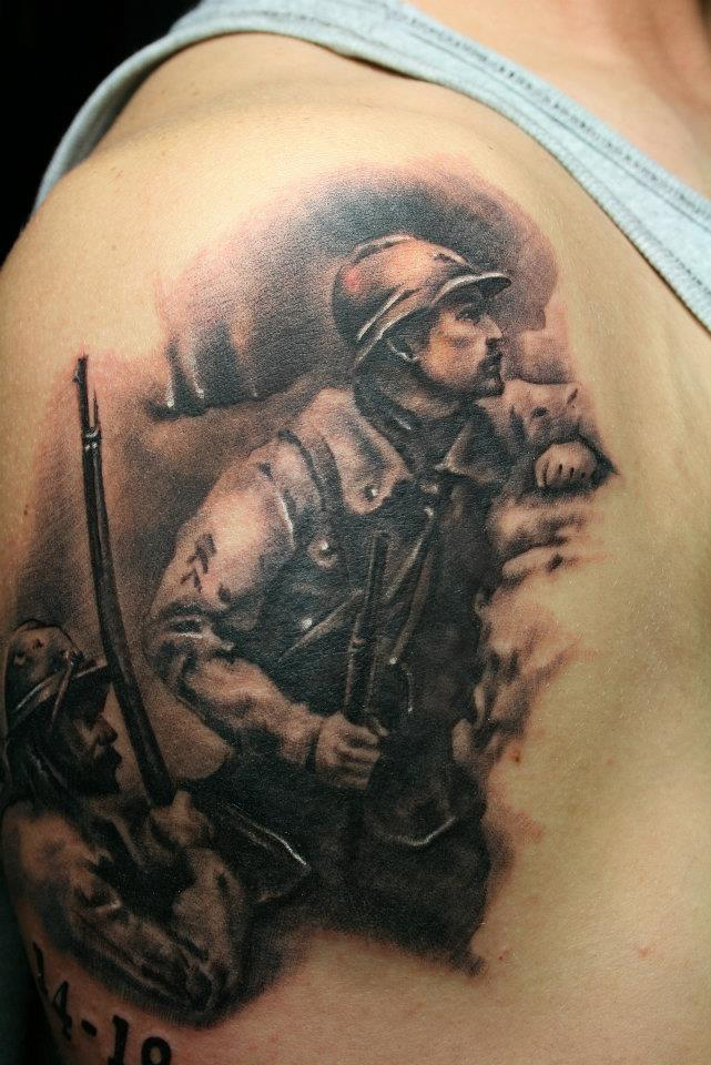 Realism Military Man Tattoo On Shoulder