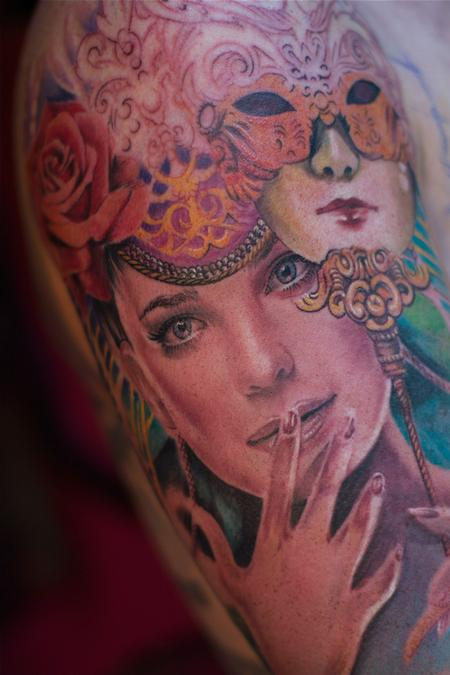 Realistic Girl Portrait And Mask Tattoo Design