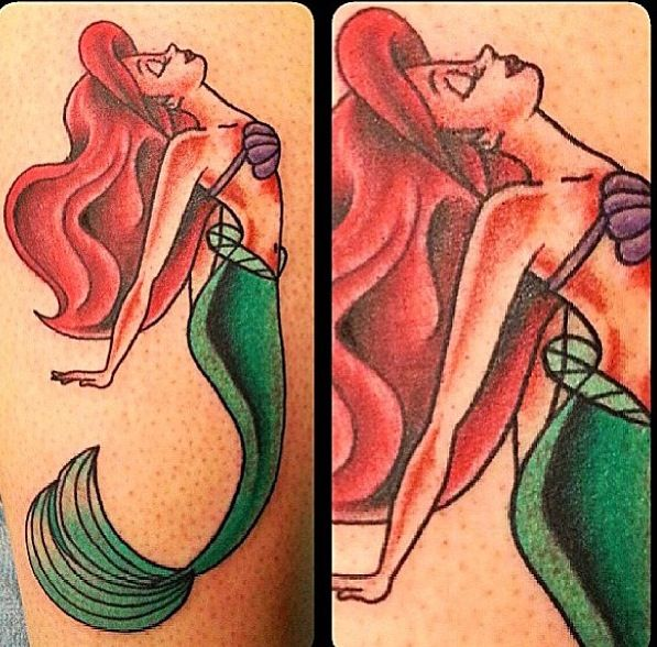 Red Hair Mermaid Tattoo Design