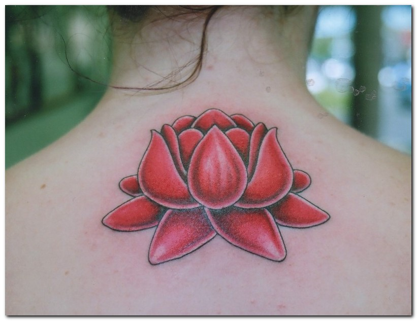 Red Ink Lotus Flower Tattoo On Back Neck