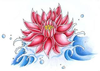 Red Lotus And Blue Waves Tattoo Design