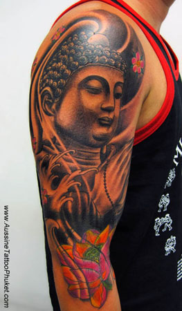 Religious Buddha & Lotus Tattoo On Arm For Guys