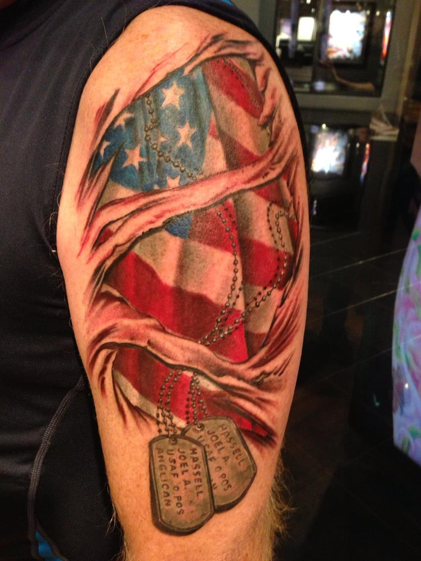 Ripped Skin US Military Tattoo On Arm