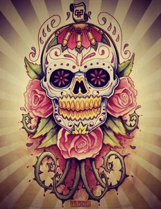 Roses And Mexican Sugar Skull Tattoo Picture