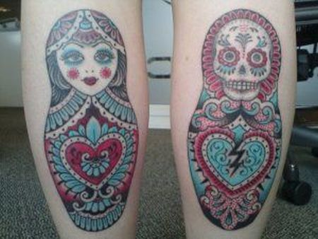 Russian And Skull Matryoshka Tattoo Designs