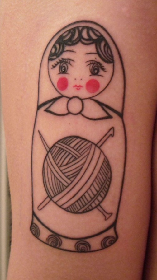 Russian Matryoshka Doll Tattoo With Thread Ball