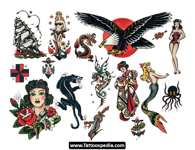 Sailor Jerry Ship Eagle And Mermaid Tattoo Designs