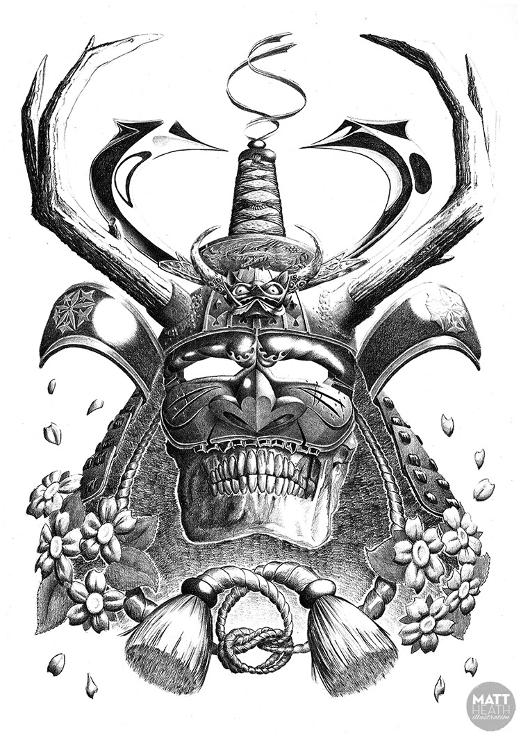 Samurai Mask Tattoo Print