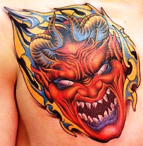 Scary Devil Mask Tattoo On Chest