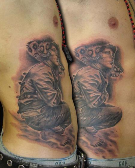 Scary Military Man Tattoo On Rib Side