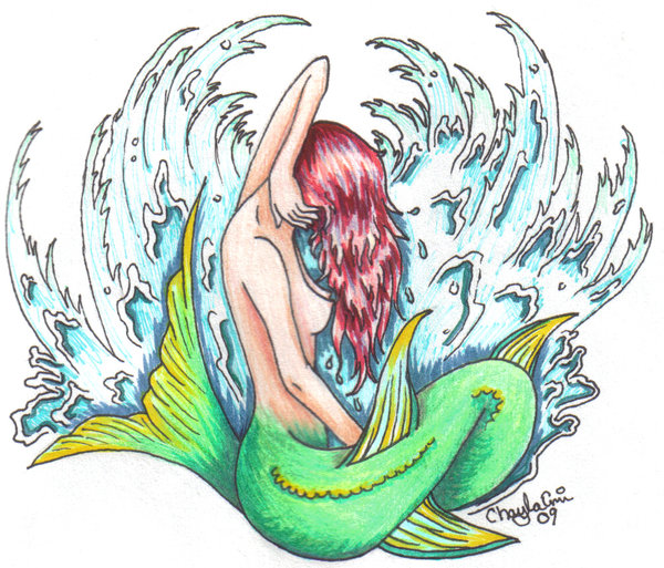 Side Look Of Mermaid And Waves Tattoo Flash