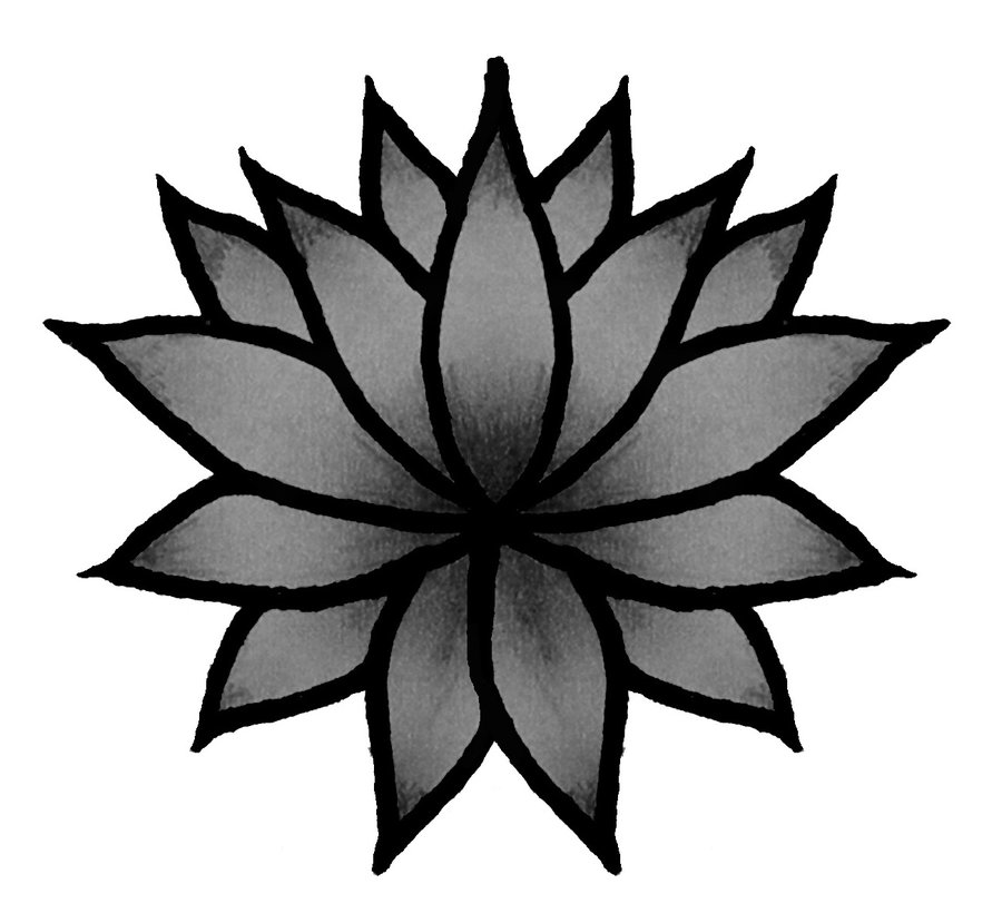 Simple Lotus Tattoo Stencil