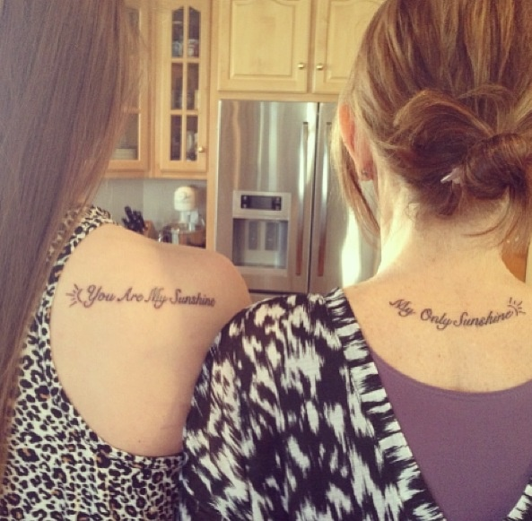 Sister's Love Tattoo Designs On Back