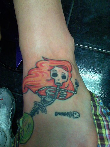 Skeleton Mermaid Tattoo On Foot