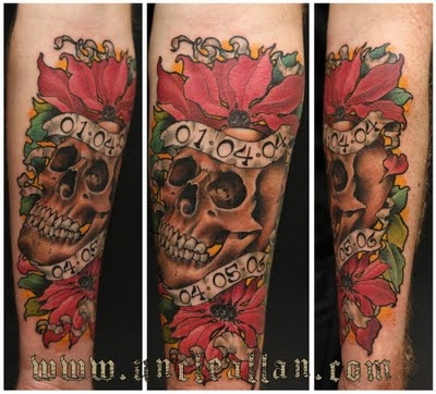 Skull Flowers With Memorial Banner Tattoo