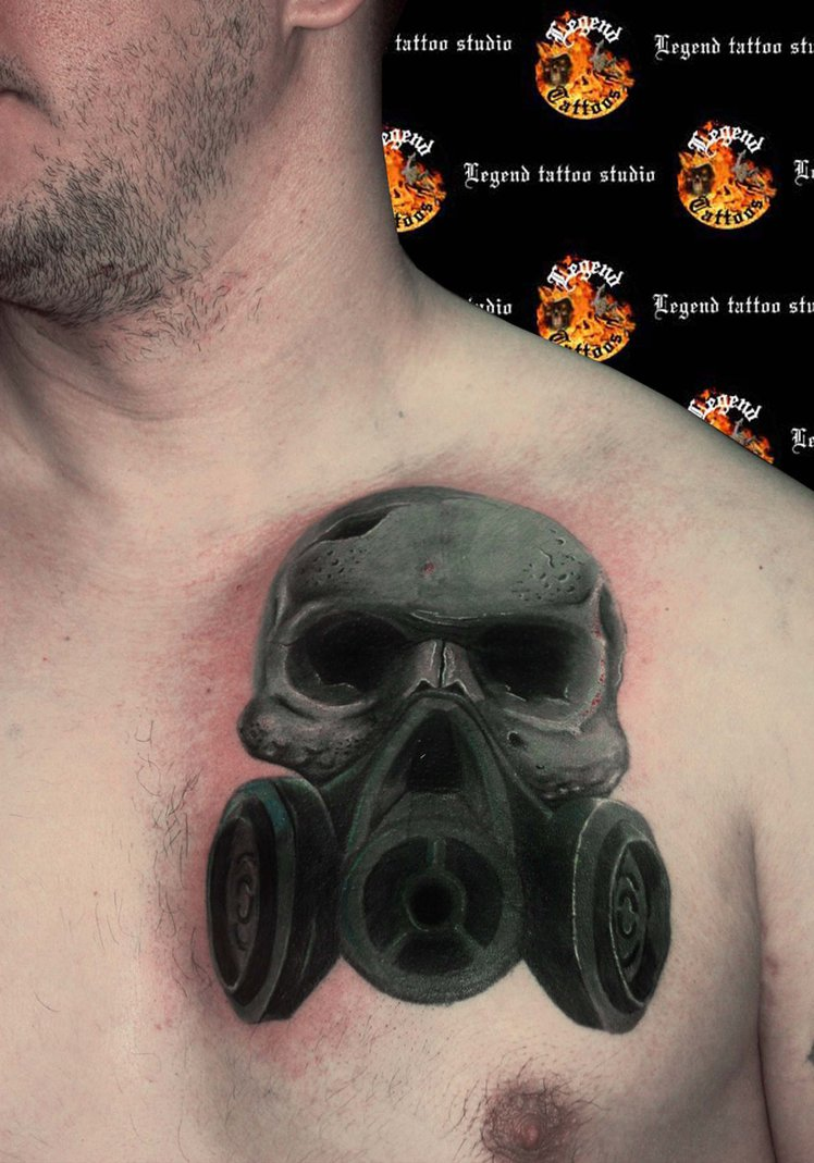 Skull Gas Mask Tattoo On Chest