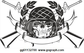 Skull In The Military Helmet Tattoo Design