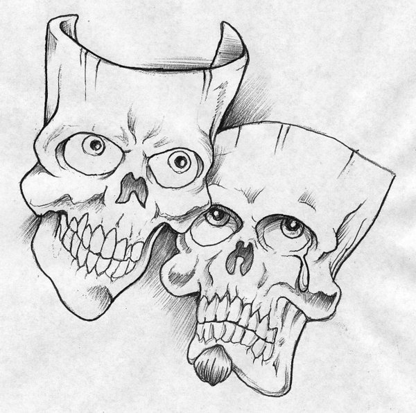 Evil Drama Masks Colouring Pages
