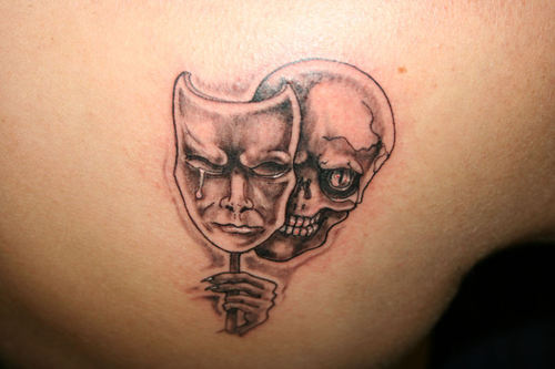 Skull With Crying Mask Tattoo Design