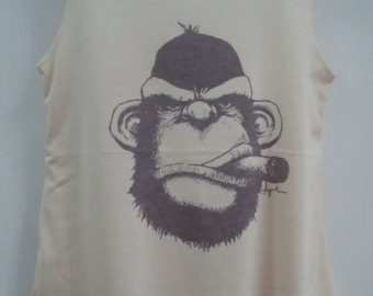 Smoking Monkey Tattoo T-Shirt