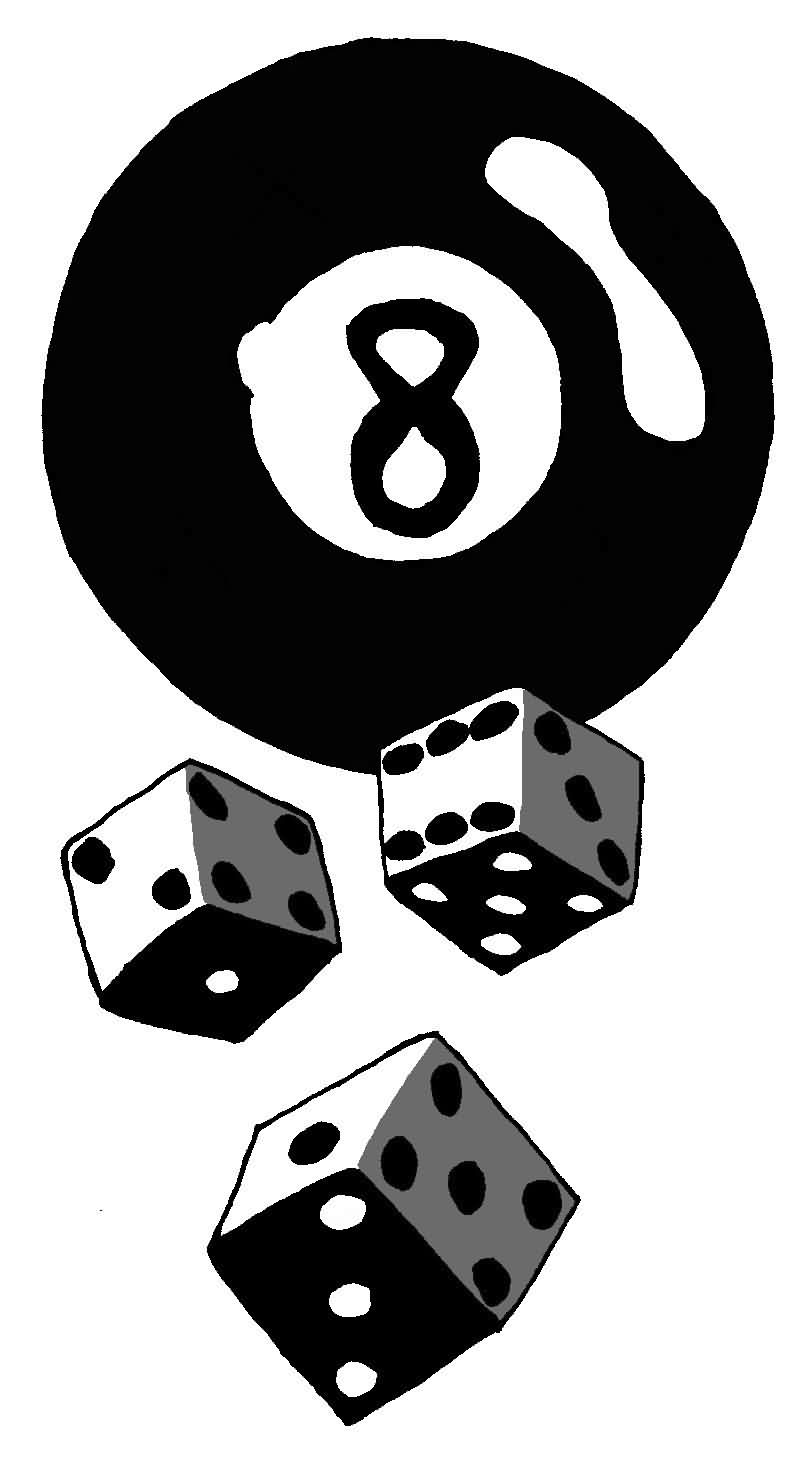 8 Ball Gambling Dices Tattoo Designs