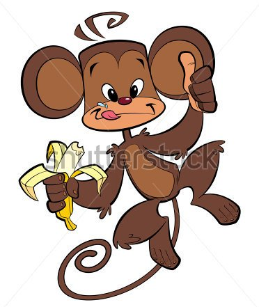 A Cartoon Brown Happy Monkey Eating Banana With Thumb Up Tattoo Design