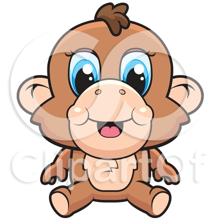 A Cute Baby Monkey With Blue Eyes Tattoo Design