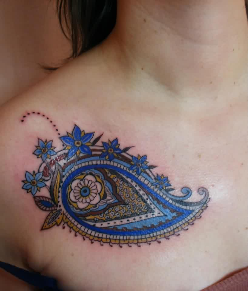 A Paisley Feminine Tattoo On Chest