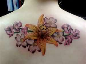Amazing Floral Tattoo On Upper Back