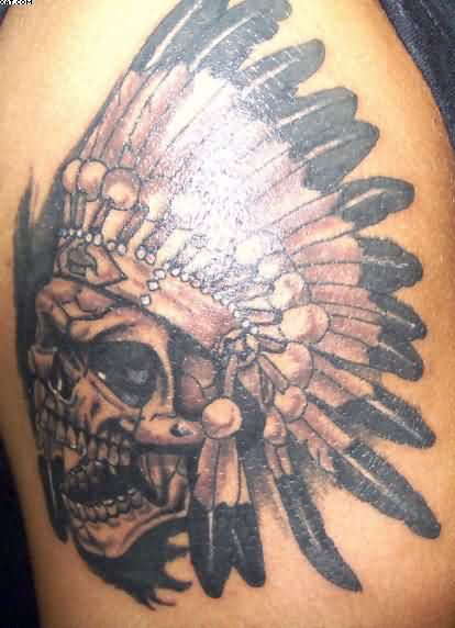 Amazing Indian Skull Tattoo