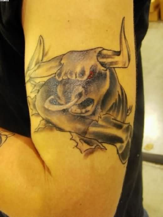 Angry Bull Tattoo On Arm