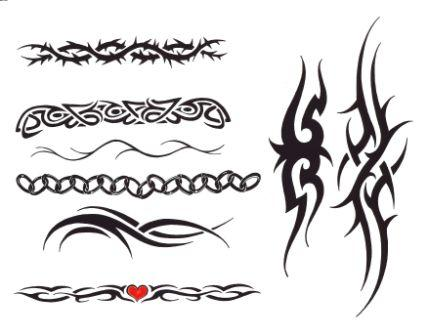 Armband Tattoo Designs On A White Background