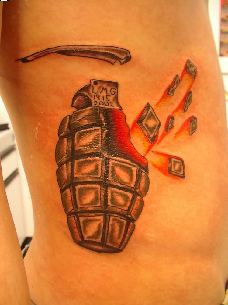 Army Grenade Tattoo On Rib Side