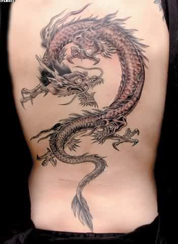 Asian Dragon Tattoo On Back Of Body