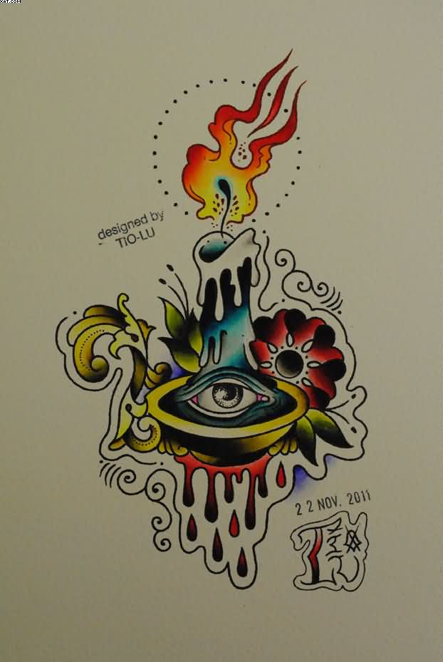 Attractive Eye Candle Tattoo Design