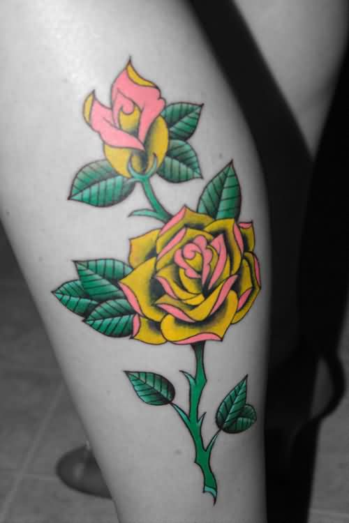 Attractive Flowers Tattoos On Leg