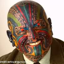 Awesome Extreme Face Tattoo