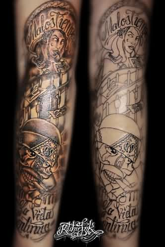 Awesome Gangsta Tattoos On Sleeve