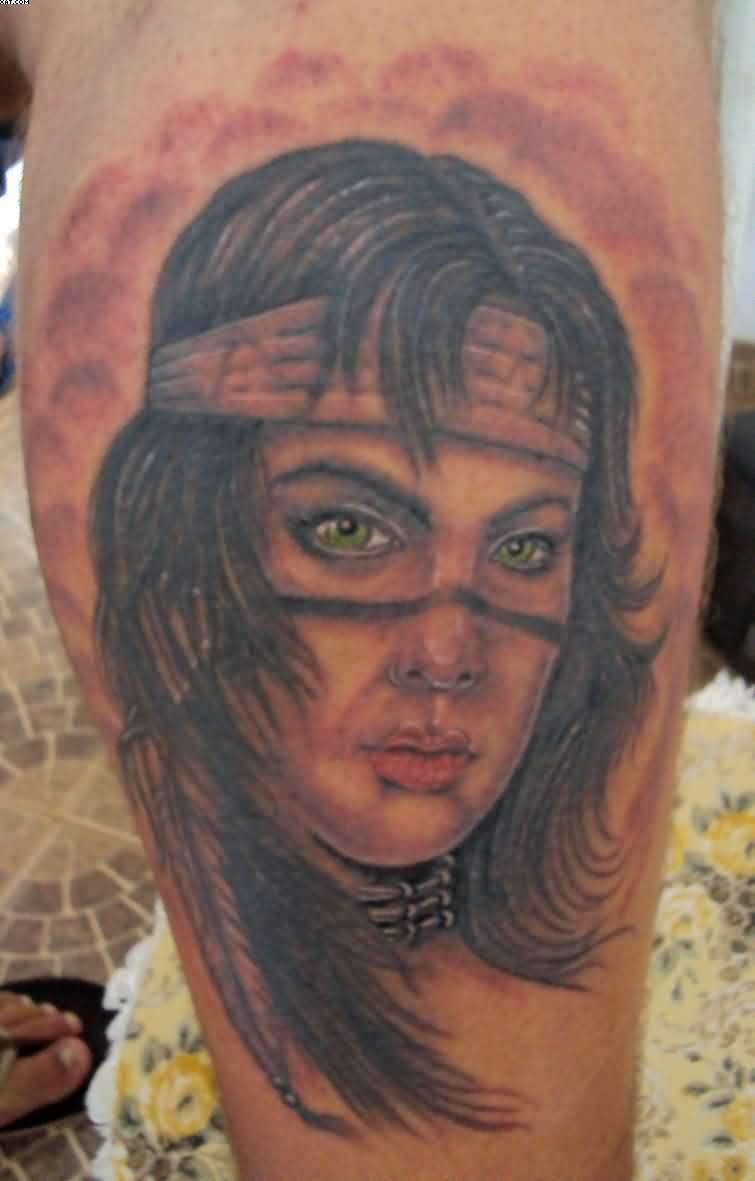 Awesome Indian Portrait Tattoo On Leg