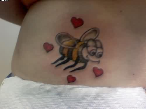 Bee Tattoo With Tiny Red Hearts