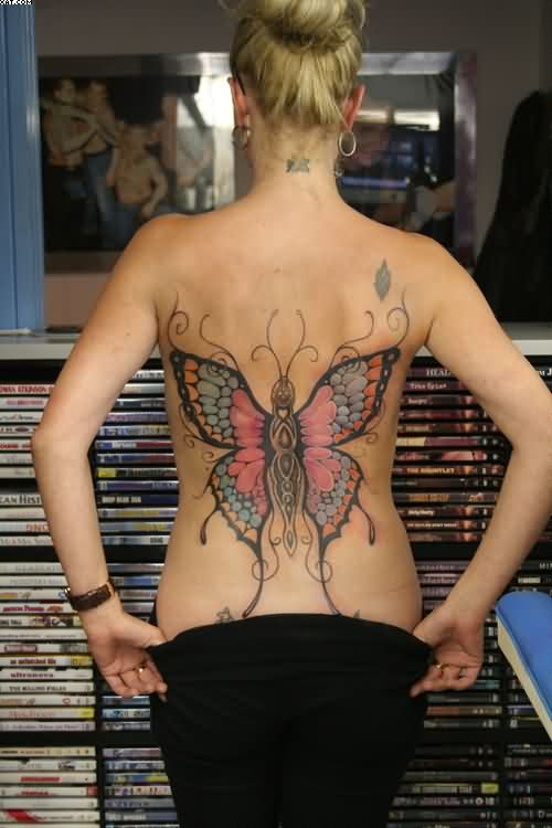Big Colorful Butterfly Tattoo On Sexy Back