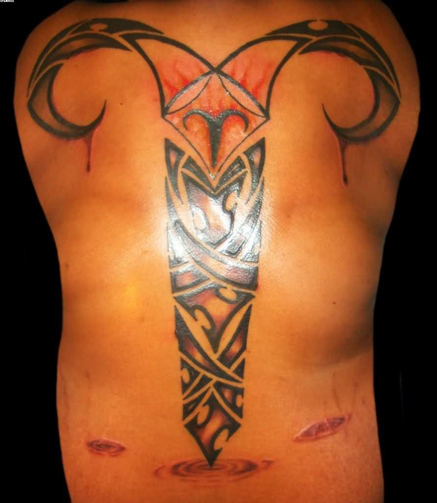 Big Stunning Aries Tattoo On Back For Men