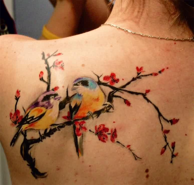 Birds On Cherry Blossom Branch Tattoo